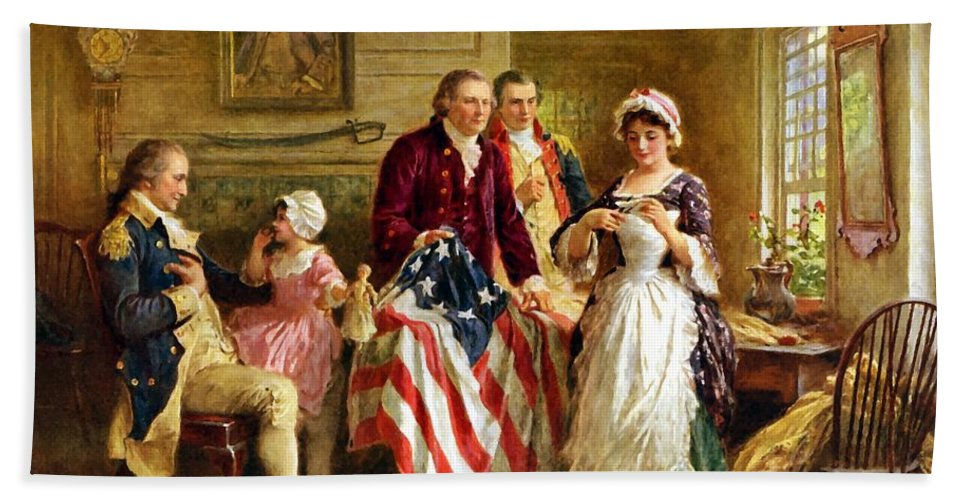 George Washington Beach Towel featuring the painting Betsy Ross And General George Washington by War Is Hell Store