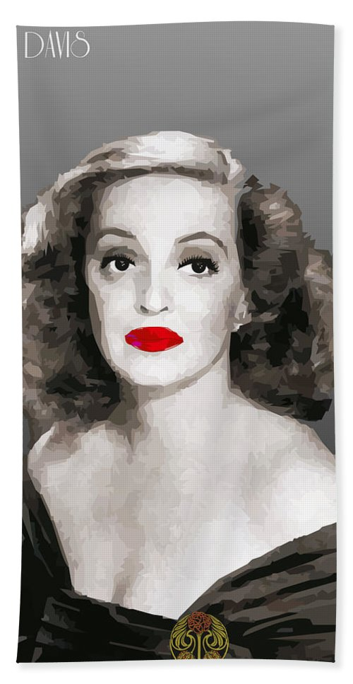 Bette Beach Towel featuring the digital art Bette Davis Draw by Quim Abella