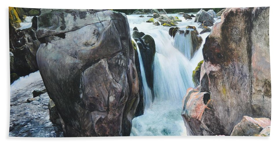Wales Beach Towel featuring the painting Betws-y-coed Waterfall In North Wales by Harry Robertson