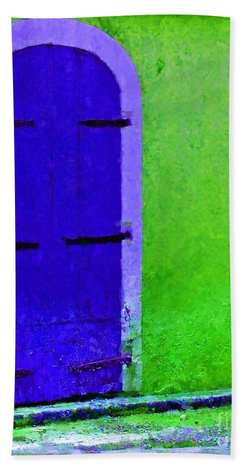 Door Beach Towel featuring the photograph Beyond The Blue Door by Debbi Granruth