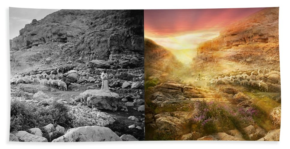 God Beach Towel featuring the photograph Bible - Psalm 23 - Yea, Though I Walk Through The Valley 1920 - Side By Side by Mike Savad