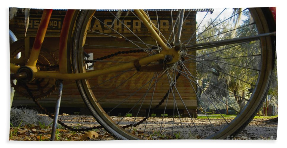 Bicycle Beach Sheet featuring the photograph Bicycle At Micanopy by David Lee Thompson