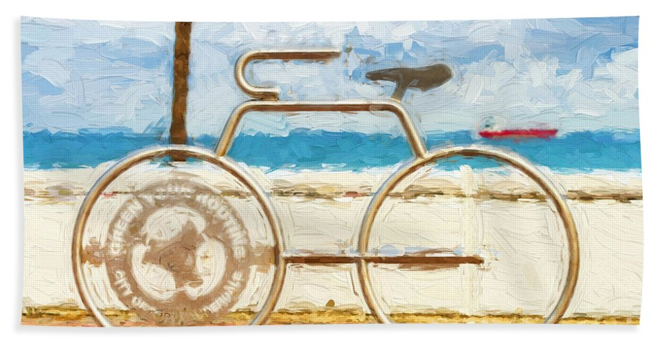 Lauderdale Beach Towel featuring the photograph Seaside Bicycle Stand by Les Palenik
