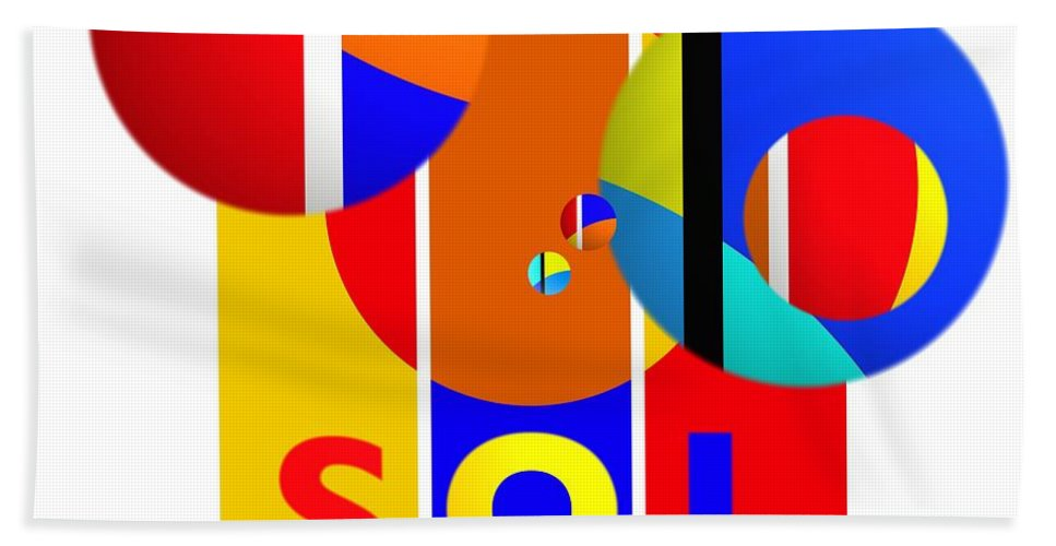 Primary Colors Beach Towel featuring the painting Big Bang Style by Charles Stuart