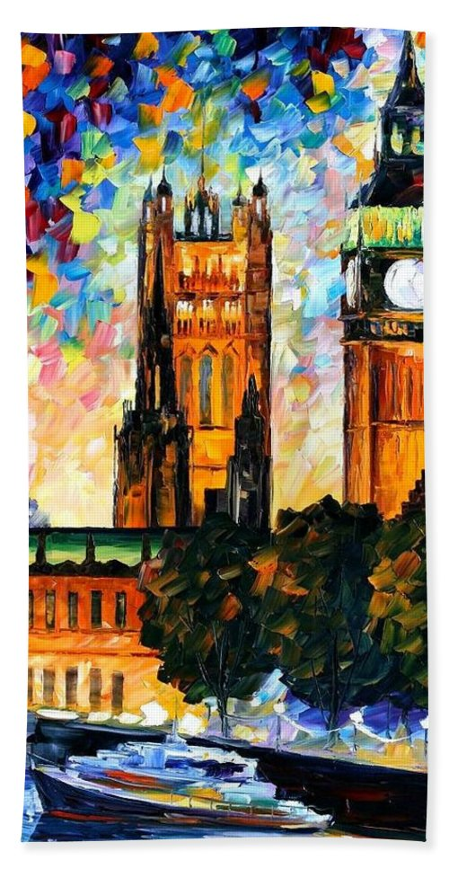 Afremov Beach Towel featuring the painting Big Ben by Leonid Afremov