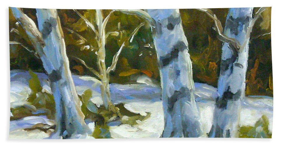 Art Beach Towel featuring the painting Big Birches In Winter by Richard T Pranke