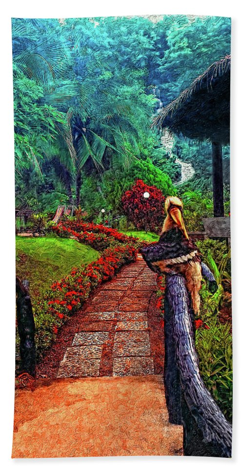 Jungle Beach Towel featuring the photograph Big Bird Painted Version by Steve Harrington