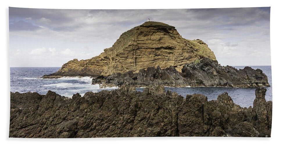 Pool Beach Towel featuring the photograph Big Lava Rock Madeira Portugal by Compuinfoto