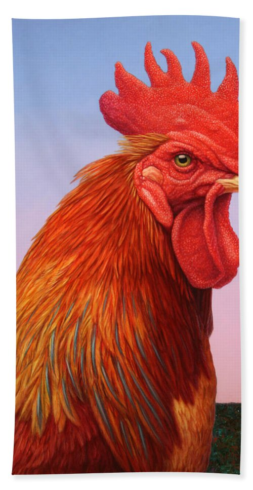 Rooster Beach Towel featuring the painting Big Red Rooster by James W Johnson