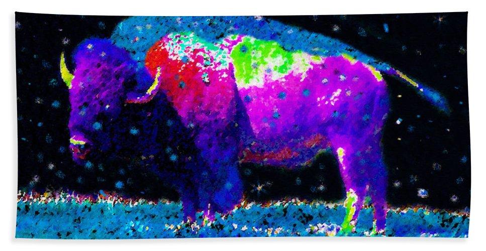 Art Beach Towel featuring the painting Big Snow Buffalo by David Lee Thompson