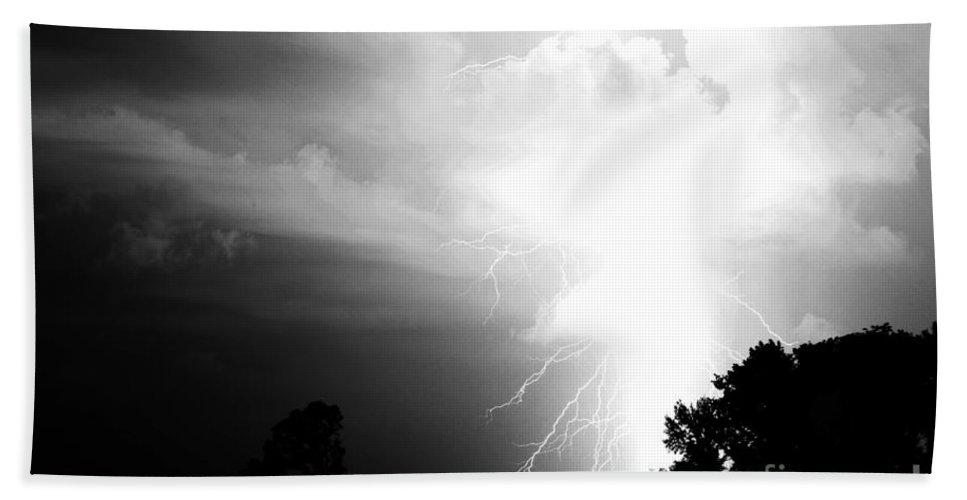 Lightning Beach Towel featuring the photograph Big Strike by Amanda Barcon