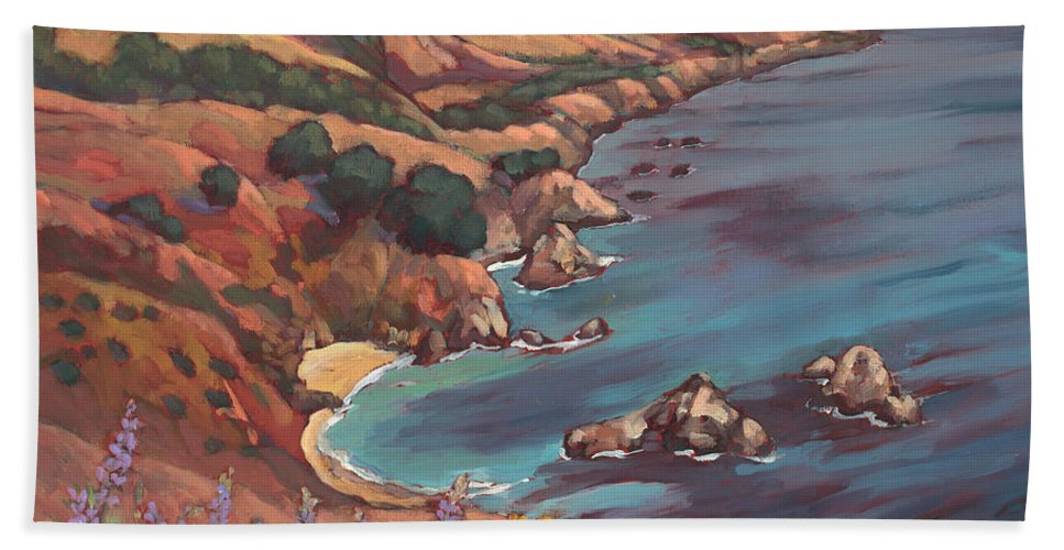 Ocean Beach Sheet featuring the painting Big Sur Coast by Peggy Olsen