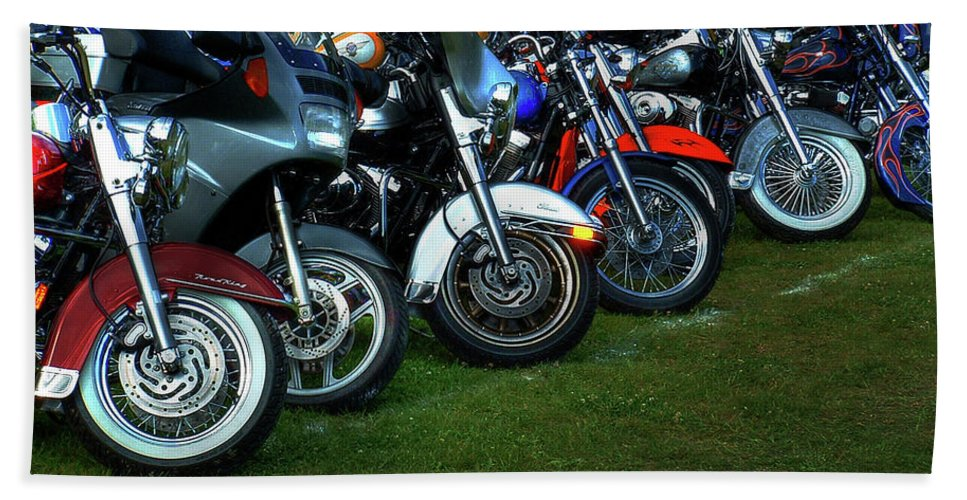 Motorcycle Beach Towel featuring the photograph Big Wheels At Laconia by Wayne King