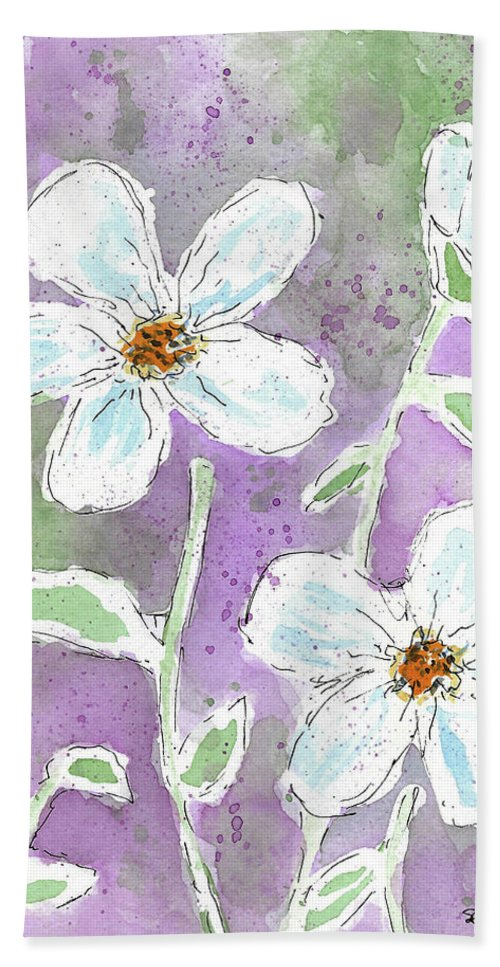 Watercolor And Ink Beach Towel featuring the painting Big White Flowers by Susan Campbell