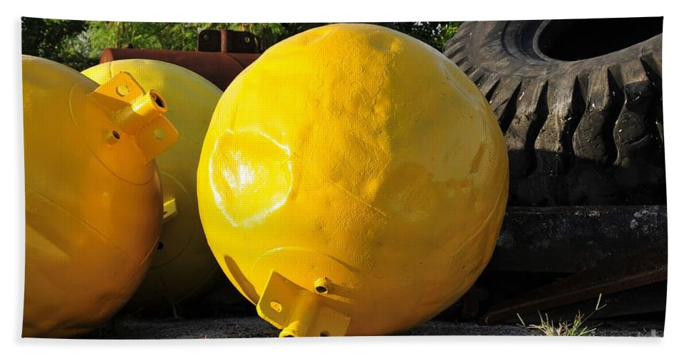 Yellow Beach Towel featuring the photograph Big Yellow Balls by David Lee Thompson