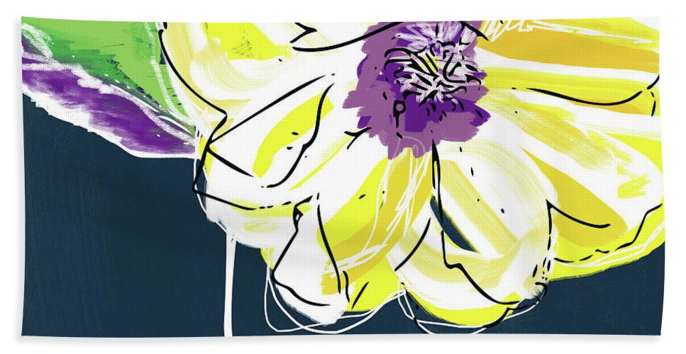 Flower Beach Towel featuring the mixed media Big Yellow Flower- Art By Linda Woods by Linda Woods