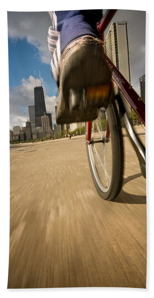 Active Beach Towel featuring the photograph Biking Chicagos Lakefront by Steve Gadomski