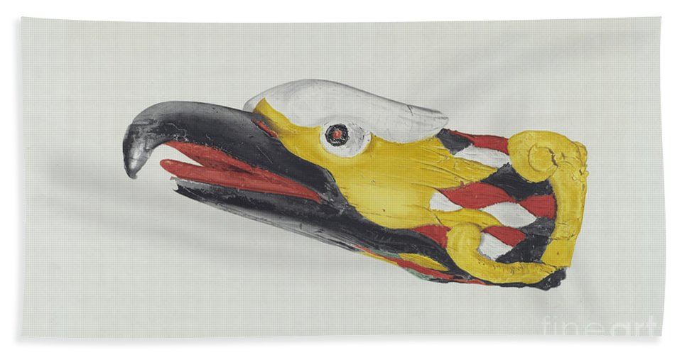 Beach Towel featuring the drawing Billet Head: Eagle by Dorothy Van Dunker