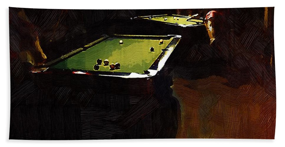 Billiards Beach Towel featuring the painting Billiards Ballet by RC DeWinter