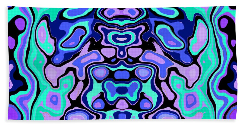 Turquoise Beach Towel featuring the digital art Biomorphic #1 by Shannon Stancliff