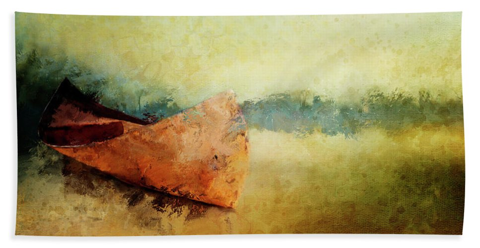 Canoe Beach Towel featuring the painting Birch Bark Canoe At Rest by Christina VanGinkel