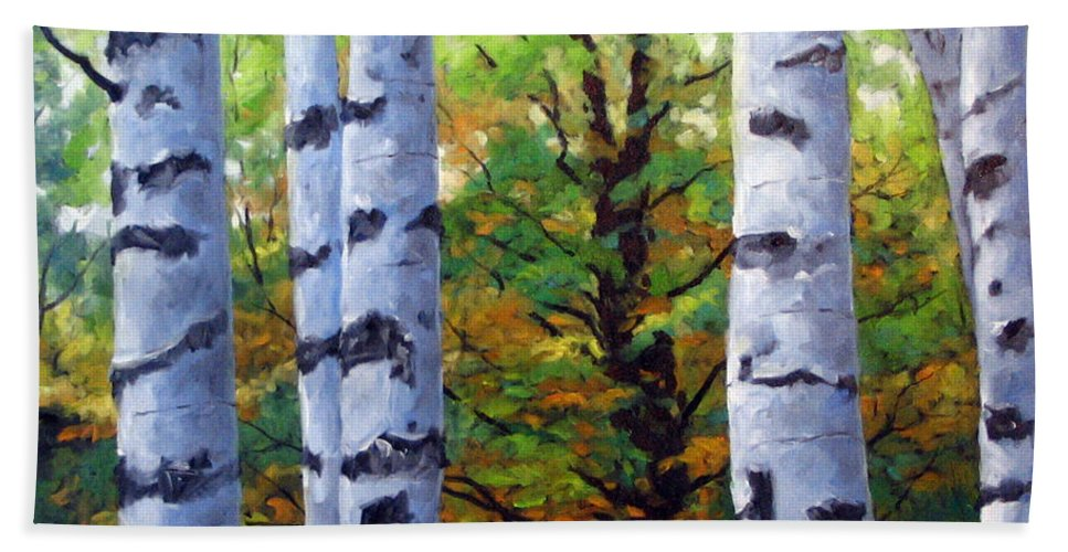 Art Beach Towel featuring the painting Birch Buddies by Richard T Pranke