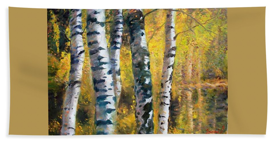 Landscape Beach Towel featuring the painting Birch Trees In Golden Fall by Ylli Haruni