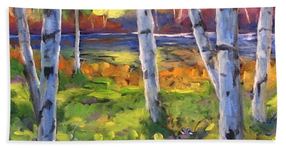 Art Beach Towel featuring the painting Birches 01 by Richard T Pranke