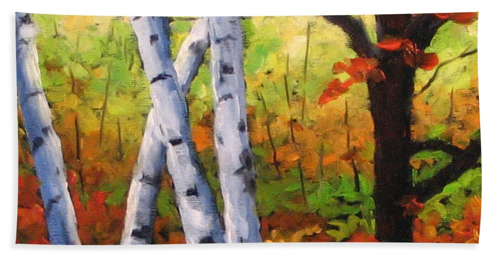 Art Beach Sheet featuring the painting Birches 05 by Richard T Pranke