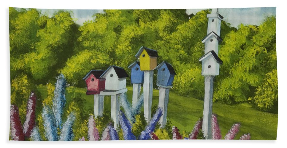 Birdhouses Beach Towel featuring the painting Bird Metropolis by Charlotte Blanchard