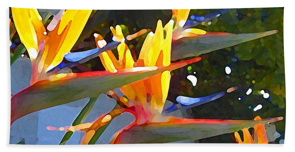 Abstract Beach Sheet featuring the painting Bird Of Paradise Backlit By Sun by Amy Vangsgard