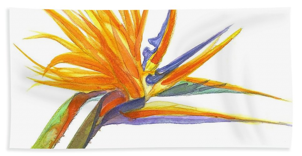 Bird Of Paradise Beach Towel featuring the painting Bird Of Paradise by Midge Pippel