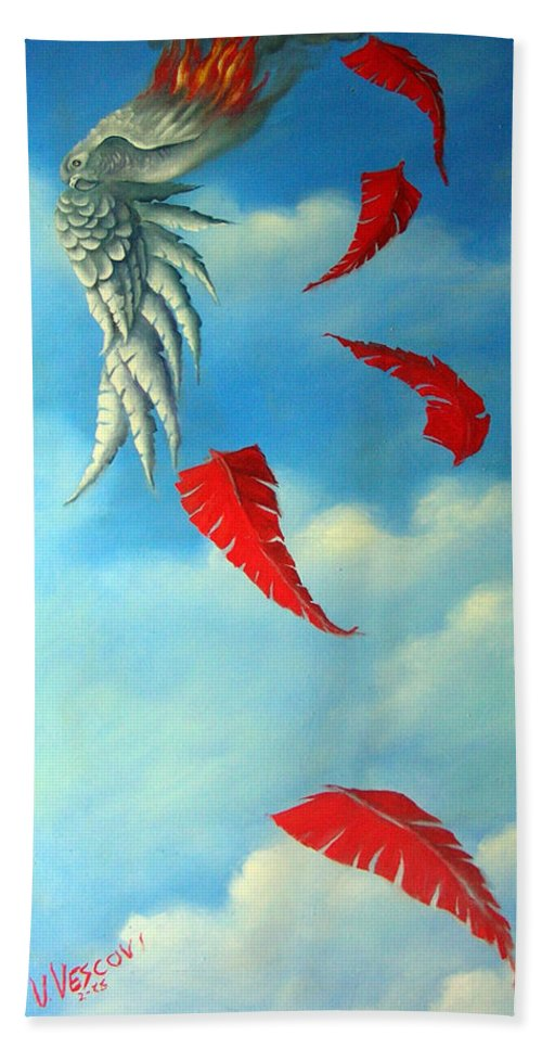 Surreal Beach Towel featuring the painting Bird On Fire by Valerie Vescovi