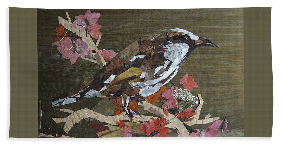 Bird Beach Towel featuring the mixed media Bird White eye by Basant Soni