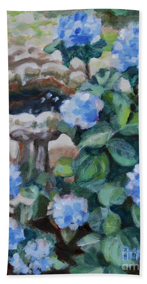 Blue Hydrangeas Beach Towel featuring the painting Birdbath Hydrangeas by Jan Bennicoff