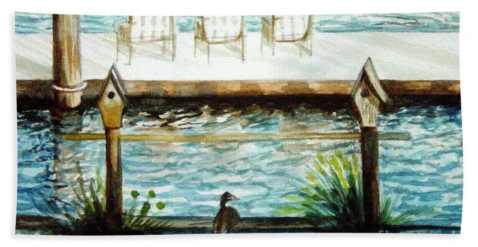 Birdhouse Beach Towel featuring the painting Birdhouse Haven by Elizabeth Robinette Tyndall