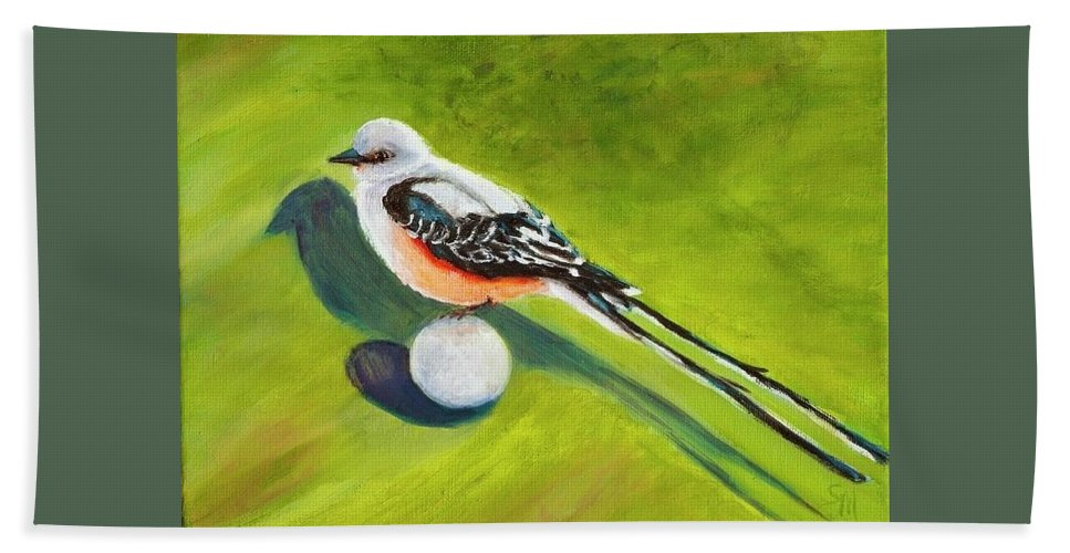 Golf Beach Towel featuring the painting Birdie Time by Susie Monzingo
