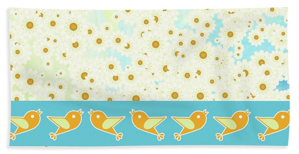 Birds Beach Towel featuring the digital art Birds And Daisies by Gaspar Avila