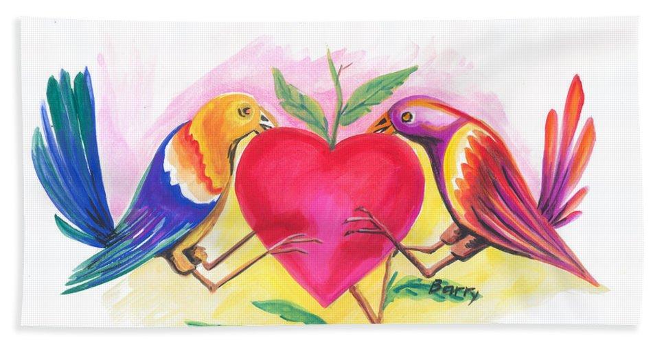 Love Beach Towel featuring the painting Birds In Love 01 by Emmanuel Baliyanga