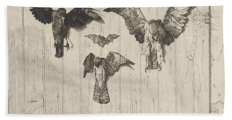 Beach Towel featuring the drawing Birds Nailed To A Barn Door (le Haut D'un Battant De Porte) by F?lix Bracquemond