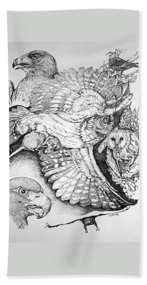 Hawk Beach Towel featuring the drawing Birds Of Prey Collage One by Lucien Van Oosten