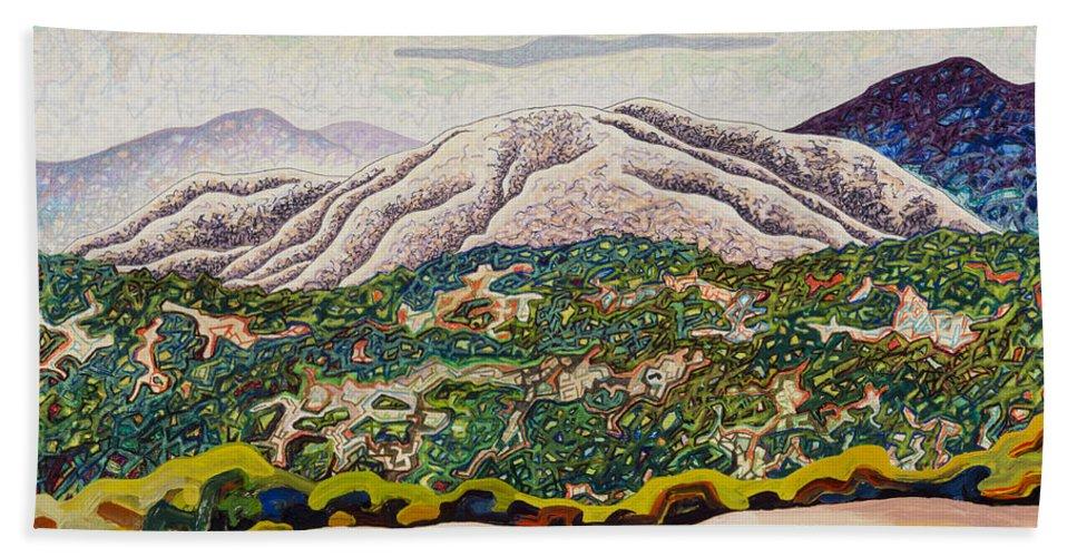 Birdseye Landscape #4 Beach Towel featuring the mixed media Birdseye Landscape #4 by Dale Beckman