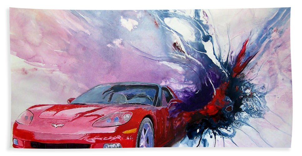 Red Corvette; C6; Beach Towel featuring the painting Birth Of A Corvette by John Gabb