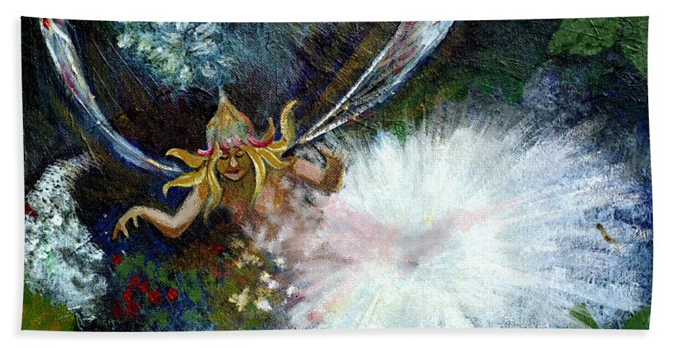 Birth Of A Fairy Beach Towel featuring the painting Birth Of A Fairy by Seth Weaver