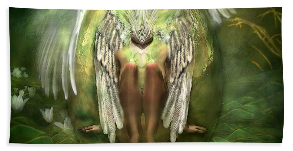 Swan Beach Towel featuring the mixed media Birth Of A Swan by Carol Cavalaris