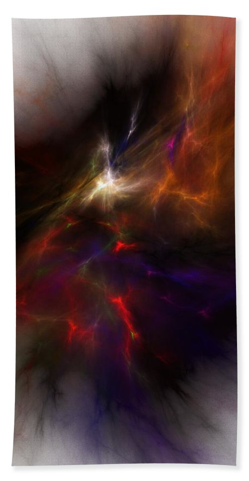 Abstract Digital Painting Beach Towel featuring the digital art Birth Of A Thought by David Lane