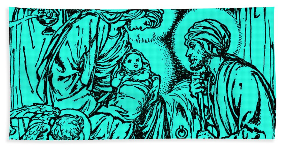 Angel Beach Towel featuring the drawing Birth Of Jesus  Nativity, New Testament, Bible by Rudolf Eichstaedt