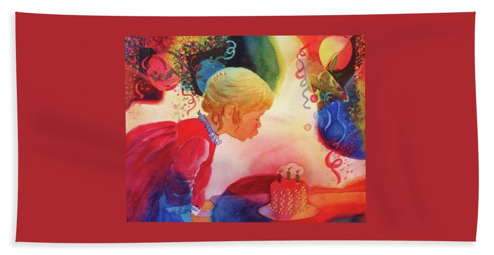 Birthday Party Beach Towel featuring the painting Birthday Party by Marilyn Jacobson