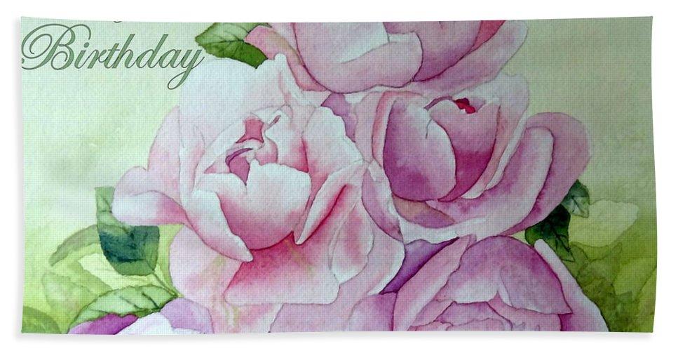 Roses Peonies Beach Towel featuring the painting Birthday Peonies by Laurel Best