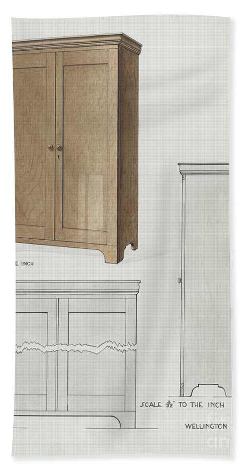 Beach Towel featuring the drawing Bishop Hill: Cupboard by Wellington Blewett